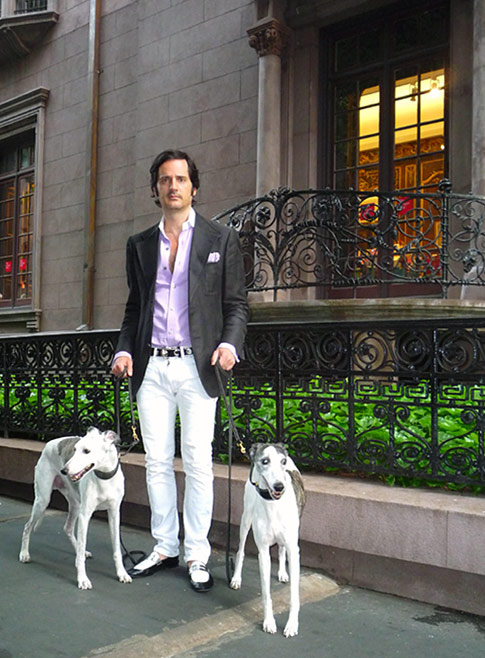 James Andrew with his dogs, Rupert and Nigel