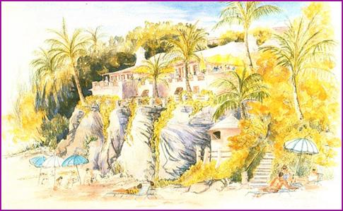 Watercolor of Coral Beach Club by Helen Bertles