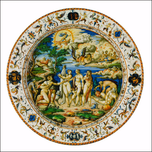 MAIOLICA Dish, The Judgment of Paris Urbino, c. 1565-75, workshop of the Fontana family Tin-glazed earthenware 16 ¾ x 2 1/8 inches The Frick Collection, Gift of Dianne Dwyer Modestini in memory of her husband, Mario Modestini, 2008