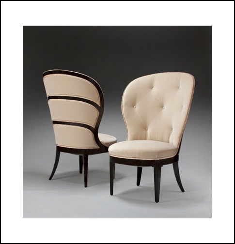 A PAIR OF SWEDISH GRACE PERIOD EBONIZED AND UPHOLSTERED CHAIRS BY UNO ÅHREN FOR MOBILIA.