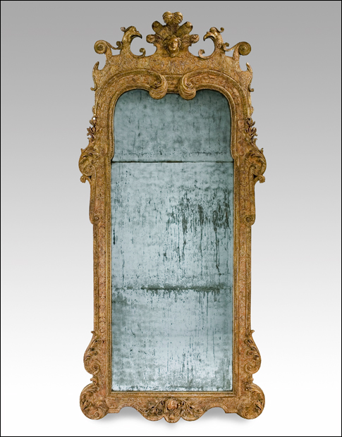 One of a very fine pair of George I pier mirrors from Denham Palace