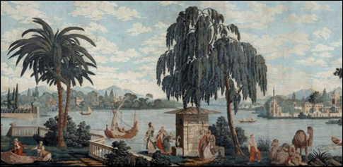 The panoramic scenic, Les Rives du Bosphore, was designed and printed by Joseph Dufour before 1812.
