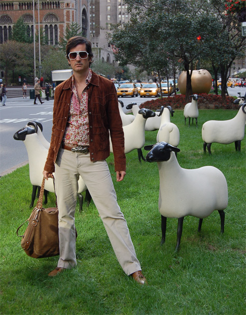 James Andrew and Lalanne sheep on Park Avenue.