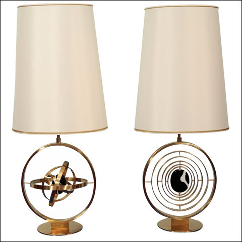 "Rida's ""Giroscopio"" Pair of Unique Table Lamps."
