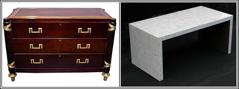 Directoire style commode created for Lord Mountbatten and circuit boy lacquer coffee table both at Frederick P. Victoria.