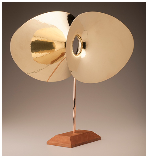 Hans Christensen VERTEBRAE STABILE, 1981 Brass with wood base.