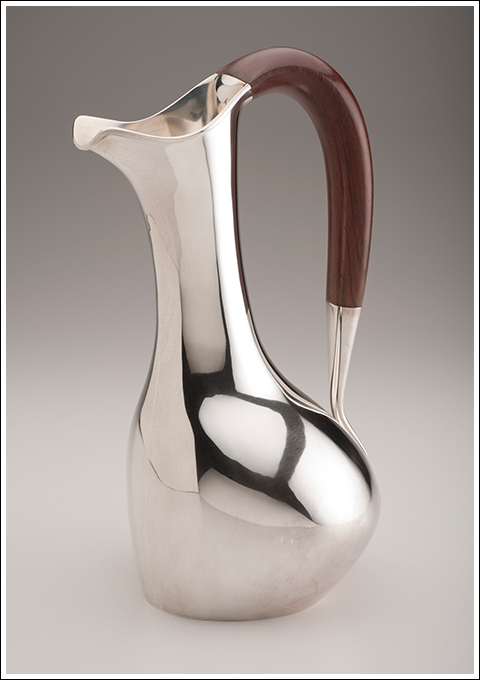 Hans Christensen WATER PITCHER, 1959 Sterling silver with rosewood handle.