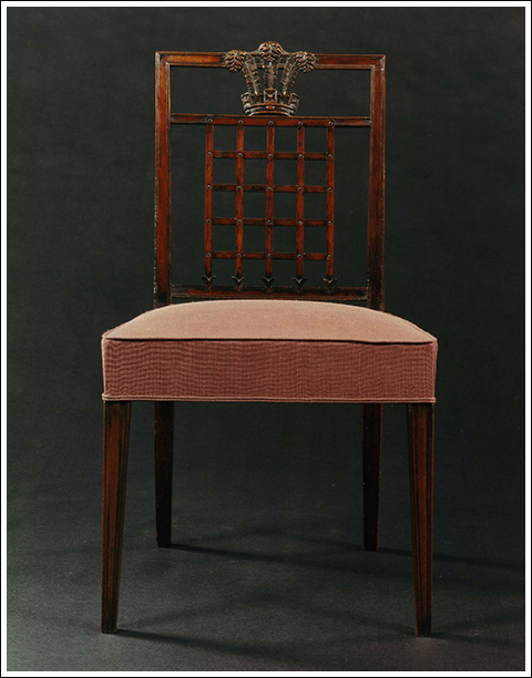 The Westminster fire office chairs.  A highly important set of twenty-two mahogany dining chairs by Mayhew & Ince