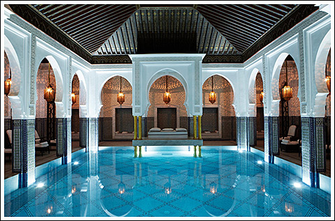 The indoor pool at La Mamounia