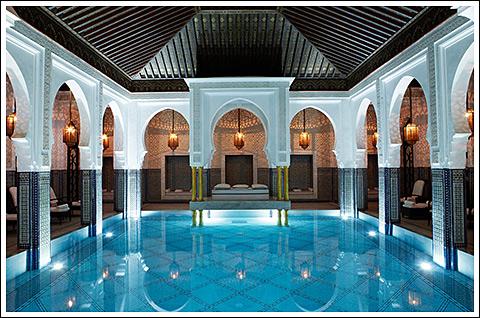 The indoor pool at La Mamounia