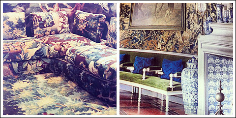 Marie Helen de Rothschild interior (left). Louis XIII Gallerie at Chateau de Groussay (right)