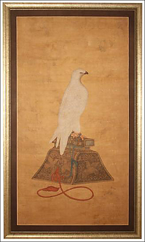 Kano school painting of an Arctic Hawk on its stand rendered in ink and colors on silk. Japan 18th century Ink and Colors on Silk
