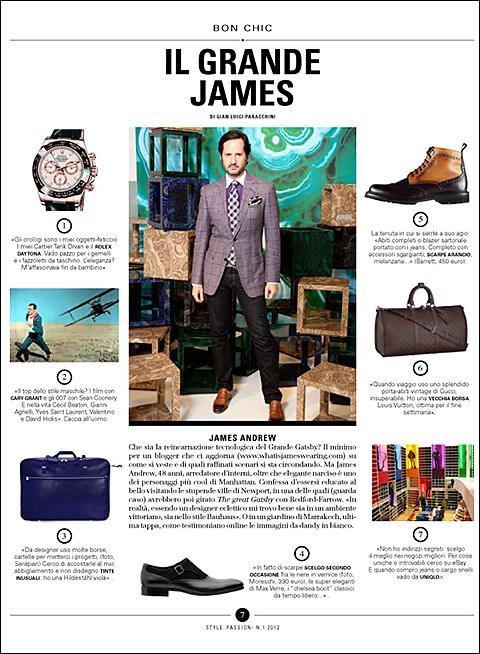 James Andrew in Corriere Della Sera's Dec. Style Magazine - by Gian Luigi Paracchini