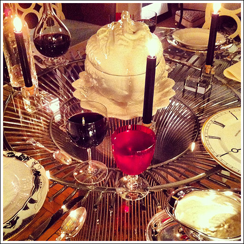 A Christmas dinner table setting by James Andrew
