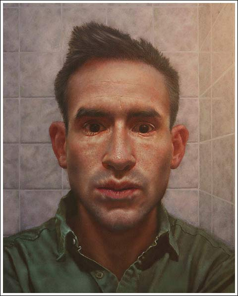 "Painting by Jesse Stern, 'Self 'Portrait,' oil on panel, 20"" x 16"" 2011"