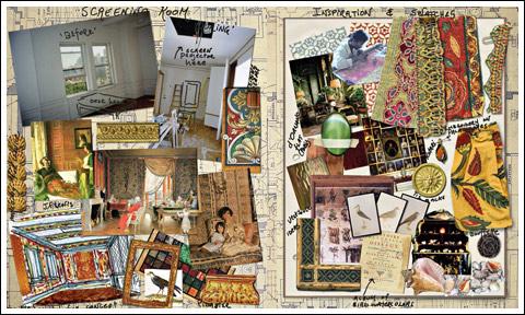 "Slatkin's ""screening room"" inspiration board"