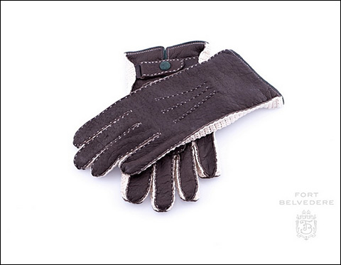 Peccary Gloves in Dark Brown with Crochet & Lining Fort Belvedere
