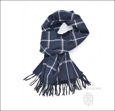 Cashmere Scarf in Navy Blue with White Windowpane - Fort Belvedere