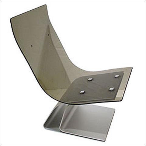 Jansen glass and steel chair