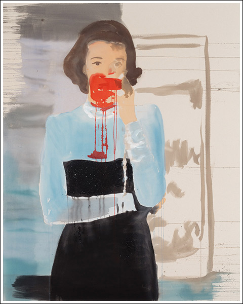 Babe Paley 1 2014 acrylic and pencil on unprimed canvas 60 x 48 inches SOLD