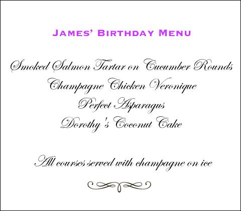 James' birthday menu