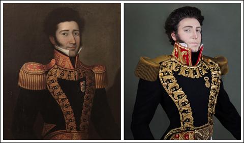 (click to enlarge) Juan Bautista Elespuru y Montes de Oca. Self portrait by Christian Fuchs to the right.