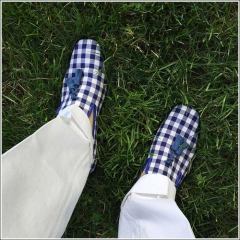 Hadleighs royal gingham tasseled slippers