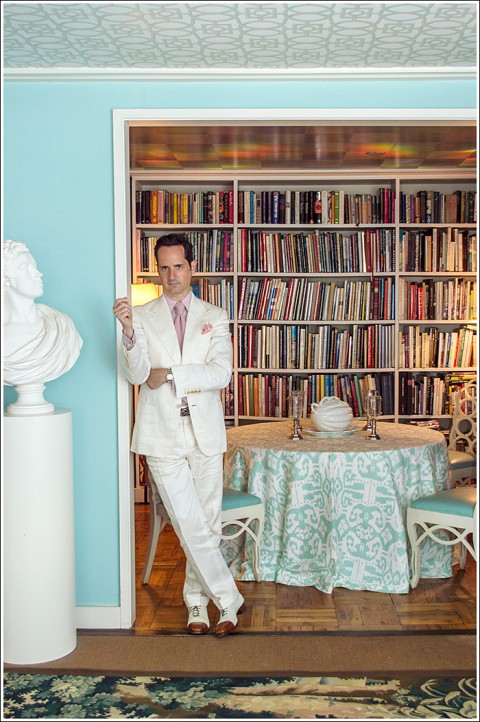 James Andrew at home with Quadrille's China Seas fabric.