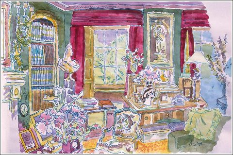 The library at Reddish House by Cecil Beaton