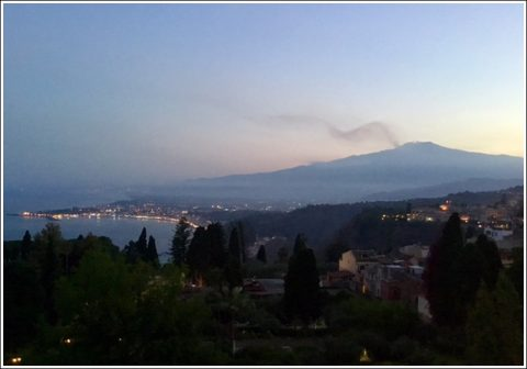 Mount Etna and the Sicilian coast from Taormina
