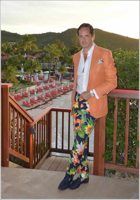 "Ensemble for dinner at On the Rocks, Eden Roc St Barth – Tom Ford mango silk ""Spencer"" jacket, white cotton shirt with French cuffs, Seaman Schepps shell and pink tourmaline cufflinks, Cartier Tank Divan, Drakes white and navy dot print linen pocket square, vintage floral pant, Max Verre denim tasseled loafers, my fragrance Tom Ford Costa Azzura"