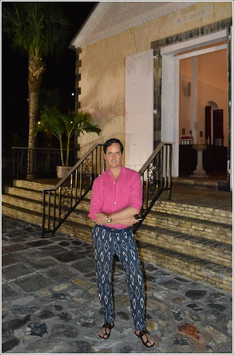 Pre-dinner stroll around Gustavia – Here I'm wearing a vintage  shocking pink linen shirt, Burberry indigo ikat pants, Tom Ford Sandals, Hermes Deux Zones Cape Cod watch, and my fragrance is Tom Ford Costa Azzura