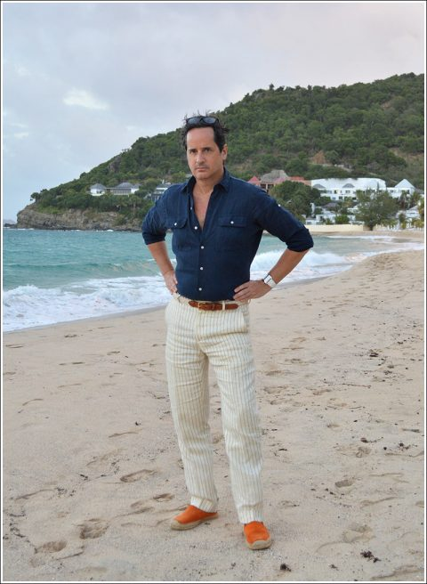 Pre dinner beach stroll – I'm wearing a vintage navy linen safari shirt and white and navy pin stripe linen pants, orange suede espadrilles, KJP woven white cotton belt, Cartier Tank Divasn, and my fragrance is Tom Ford Costa Azzura