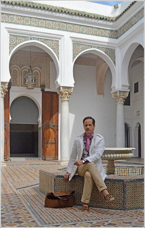 Courtyard of the Musée Archéologique I am sporting a Gucci white cotton safari jacket, Tom Ford floral shirt in brown, pink and white with a silk cotton pink dot print neckerchief, vintage khaki pants, Gucci leopard espadrilles, Hermes Cape Cod dual time zone watch and a Tom Ford brown suede tote. My fragrance is Creed Windsor.