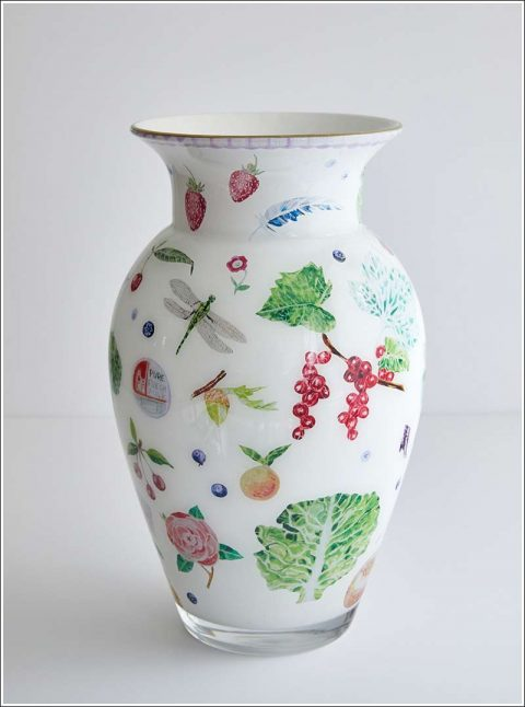 Handmade decoupage classic style vase, designed by Cathy Graham crafted by Scott Potter