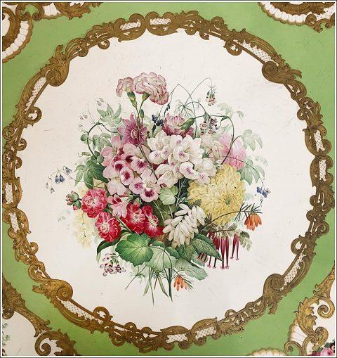Detail of an exquisite Adelaide Green porcelain tabletop by Copeland & Garrett at Carlton Hobbs.